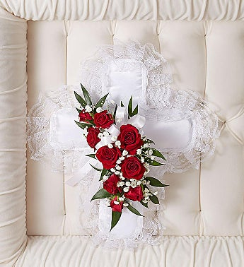 Red & White Satin Cross Casket Pillow