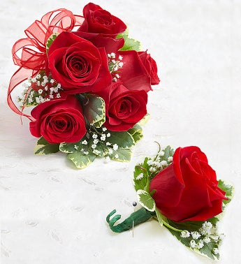 Red Rose Corsage & Boutonniere - Large party supplies