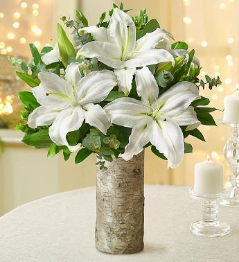All White Lilies 1800flowers 92928