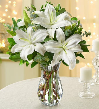 All White Lilies with Clear Vase