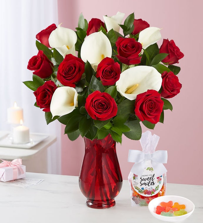 Stunning Red Rose & Calla Lily Bouquet with Red Vase & Candy