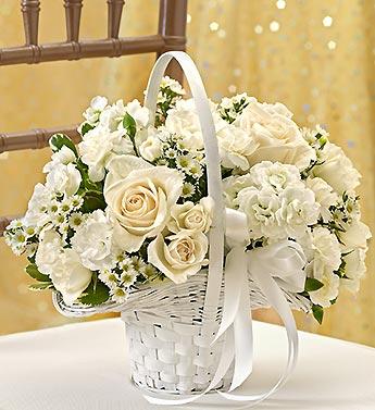 All white flower girl basket from 1 800 flowers 95293 all white flower girl arrangement mightylinksfo