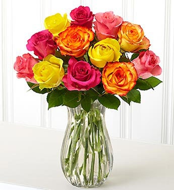 Bahamas One Dozen Multi-Colored Roses