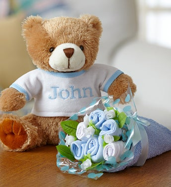 Personalized Bear & Layette Bouquet