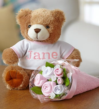 Personalized Bear & Layette Bouquet- Pink or Blue Pink