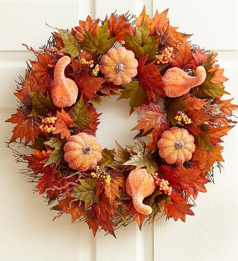 Faux Sugar & Spice Pumpkin Wreath - 20""