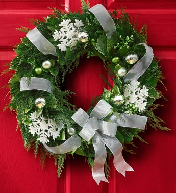 "Silver Holiday Preserved Wreath - ""18"