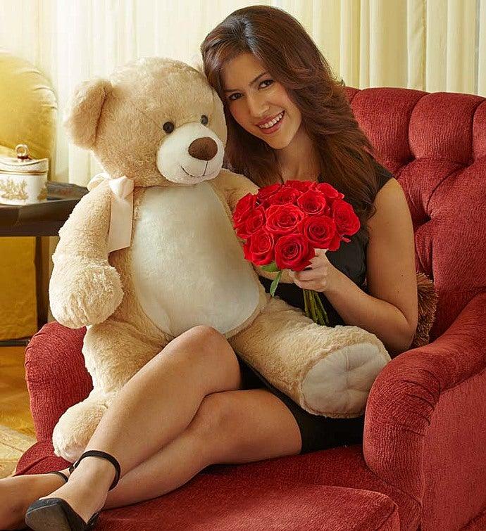 Lotsa Love® - Big Bear with Red Roses