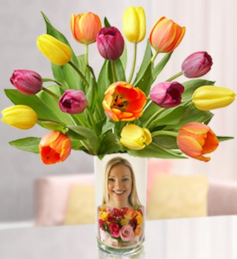 Personalized Vase with Assorted Tulips