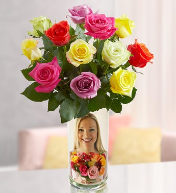 Personalized Vase with Assorted Roses