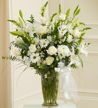 Large White Sympathy Vase Arrangement