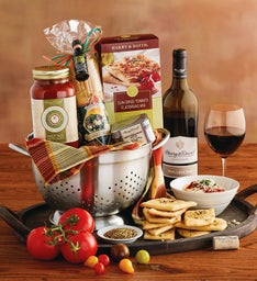 Pasta Gift Basket with Wine