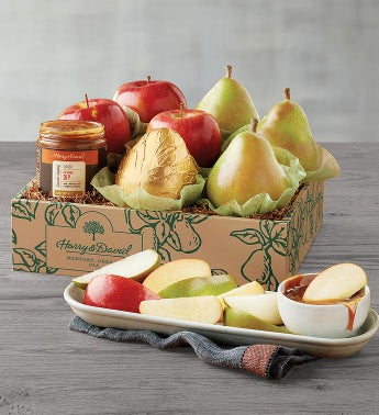 Pears, Apples, and Caramel Sauce