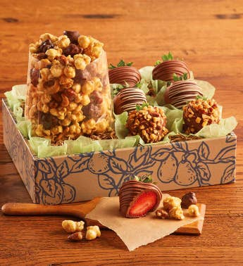 Moose Munch174 Premium Popcorn and Chocolate-Covered Strawberries