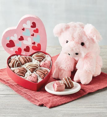 Plush Pig with Truffles and Chocolates