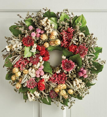Mother39s Day Pink Floral and Berry Wreath