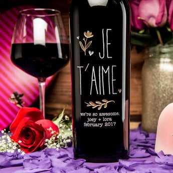 JE T'AIME Personalized Wine Bottle
