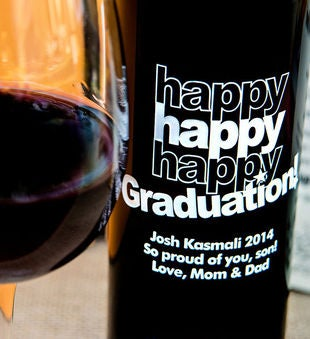 Triple Happy Graduation! Personalized Wine Bottle