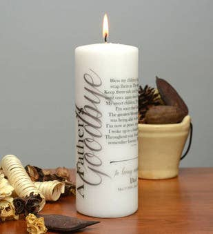 A Fathers Goodbye Memorial Candle