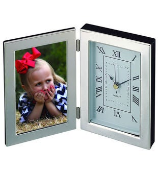Engraved Silhouette Photo Frame & Clock
