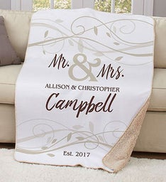 Personalized Mr  Mrs Wedding Sherpa Throw