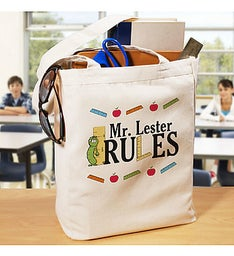 My Teacher Rules Personalized Tote Bag