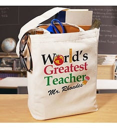 Worlds Greatest Personalized Teacher Canvas Tote Bag