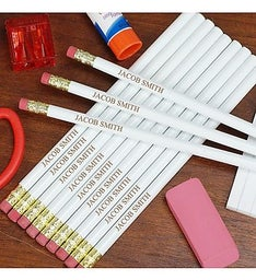 Personalized White School Pencils