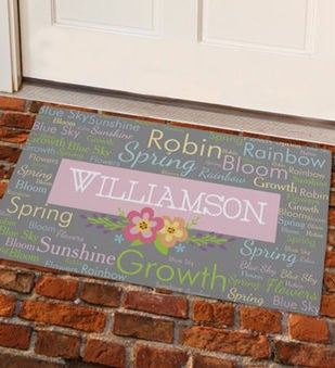 Personalized Spring Words Doormat