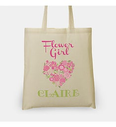 Personalized Flower Girl Heart Tote Bag