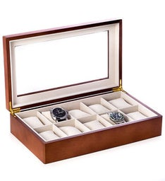 Cherry Wood 10 Watch Box with Glass Top and Velour Lined