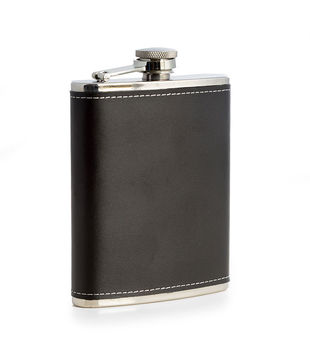 6oz. Stainless Steel Black Leather Flask