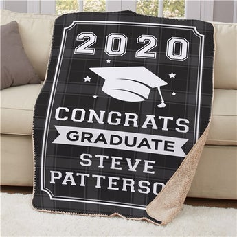 Personalized Congrats Graduate Flannel Blanket