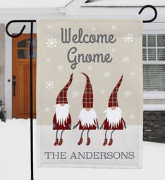Personalized Welcome Gnome Garden Flag