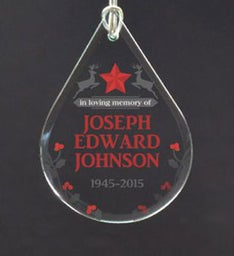 Personalized Christmas Tear Drop Ornament