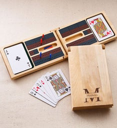 Engraved Design Wood Cribbage Game