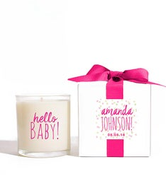Personalized Hello Baby Girl Candle