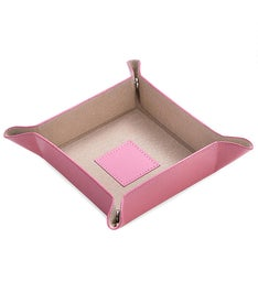 Personalized Pink Leather Square Valet