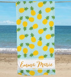 Personalized Pineapple Beach Towel