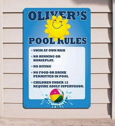 Pool Rules Personalized Wall Sign