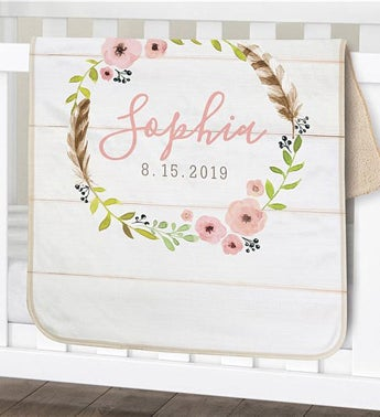 Personalized Wreath Sherpa Blanket for Baby