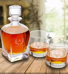 Personalized Antique Whiskey Decanter 2 Glass Set