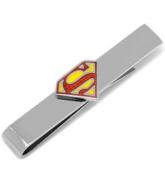 Transparent Enamel Superman Shield Tie Bar