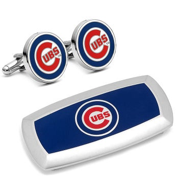 Chicago Cubs Cufflinks & Cushion Money Clip Set