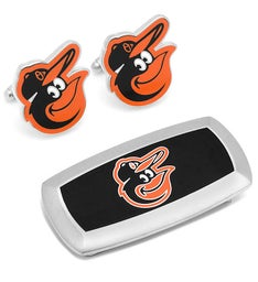 Baltimore Orioles Cufflinks and Cushion Money Clip