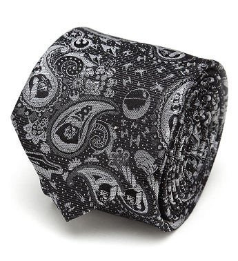 Vader Paisley Black and White Men's Tie