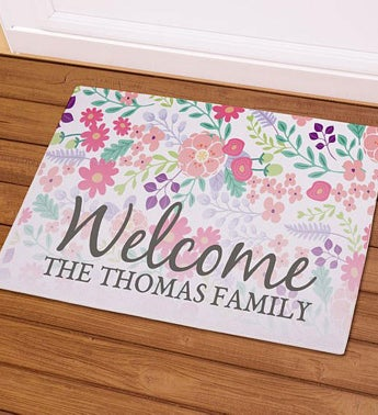 Personalized Floral Family Doormat