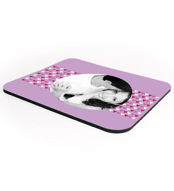 Personalized Purple Hearts Mouse Pad
