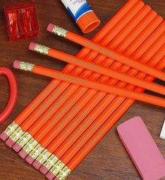 Personalized Orange School Pencils