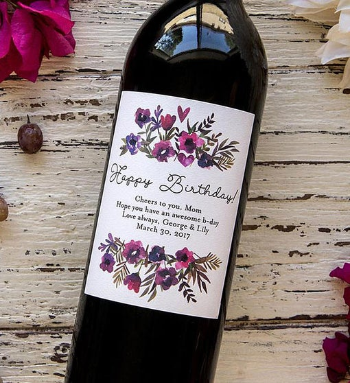 Personalized Vivid Flowers Birthday Labeled Wine